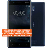 "nokia 3 ta-1032 2gb 16gb quad-core 8mp camera 5.0"" android 7 smartphone 4g blue"