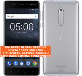 "nokia 5 1053 3gb 32gb dual sim 13mp fingerprint 5.2"" android smartphone silver"