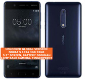 "nokia 5 1024 3gb 32gb single sim 13mp fingerprint 5.2"" android smartphone blue"
