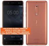 "nokia 5 1024 3gb 32gb single sim 13mp fingerprint 5.2"" android smartphone copper"