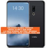 "meizu 16 6gb 64gb octa-core 20mp fingerprint 6.0"" android 8.0 smartphone black"