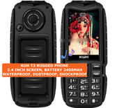 kuh t3 rugged waterproof dustproof shockproof bluetooth fm dual sim phone black