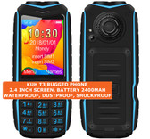 kuh t3 rugged waterproof dustproof shockproof bluetooth fm dual sim phone blue