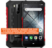 "ulefone armor x3 rugged 2gb 32gb waterproof 8mp face id 5.5"" android 9.0 red"