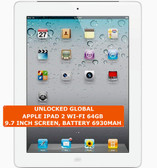 apple ipad 2 wi-fi 64gb dual-core 9.7 inch screen camera ios tablet pc white