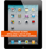 apple ipad 2 wi-fi 64gb dual-core 9.7 inch screen camera ios tablet pc black