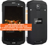 "agm a8 rugged 4gb 64gb quad core waterproof 13mp 5.0"" android smartphone black"