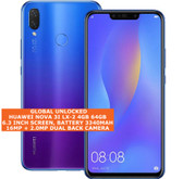 huawei nova 3i lx-2 4gb 64gb octa-core 16mp fingerprint android smartphone blue