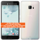 "htc u ultra 4gb 64gb quad-core 12mp fingerprint 5.7"" android smartphone 4g white"