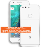 "google pixel 4gb 128gb quad-core 12mp fingerprint 5.0"" android smartphone white"