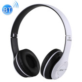 p47 foldable wireless bluetooth 3.5mm audio jack support mp3 fm headphone white