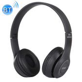 p47 foldable wireless bluetooth with 3.5mm audio jack mp3 fm headphone black