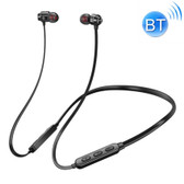 bluetooth 5.0 earphone neck-mounted wire magnetic adsorption function black
