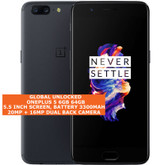 "oneplus 5 6gb 64gb octa-core 20mp fingerprint 5.5"" android smartphone slate gray"