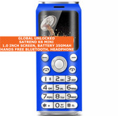 satrend k8 mini bluetooth headphone mp3 music dual sim camera mobile phone blue
