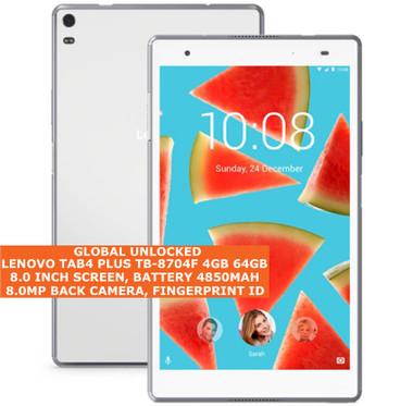 "lenovo tab4 plus tb-8704f 4gb 64gb octacore 8.0mp fingerprint 8.0"" android white"