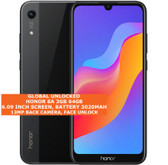 "honor 8a 3gb 64gb octa core 13mp face unlock 6.09"" android 9.0 smartphone black"