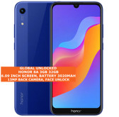 "honor 8a 3gb 32gb octa core 13mp face unlock 6.09"" android 9.0 smartphone blue"
