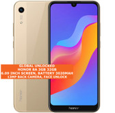"honor 8a 3gb 32gb octa core 13mp face unlock 6.09"" android 9.0 smartphone gold"