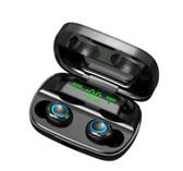 tws wireless bluetooth earphone led digital diaplay noise handsfree earbud black