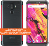 "vernee v2 pro 6gb 64gb waterproof 21mp face id 5.99"" dual sim android red-grey"