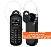 uniwa bm70 wireless bluetooth 0.66 inch music phone book mini mobile 2g black