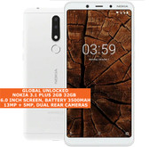 "nokia 3.1 plus 2gb 32gb octa core 13mp hdr fingerprint 6.0"" android 9.0 smartphone white"