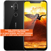 nokia 8.1 global version 4gb/64gb dual sim cards 12mp fingerprint android black