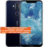 nokia 8.1 global version 4gb/64gb dual sim cards 12mp fingerprint android blue