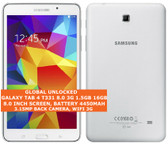 "samsung galaxy tab 4 t331 8.0 3g 16gb quad-core 8.0"" wifi android tablet white"