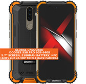 "doogee s58 pro 6gb 64gb waterproof 5.7"" fingerprint android 10 smartphone orange"