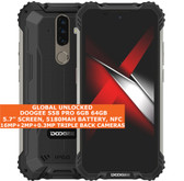 "doogee s58 pro 6gb 64gb waterproof 5.7"" fingerprint android 10 smartphone black"