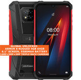 "Ulefone Armor 8 Rugged 4gb 64gb Waterproof 6.1"" Fingerprint Android 10 4g Red"