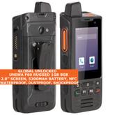 "Uniwa F60 Rugged Walkie Talkie 8gb Waterproof 2.8"" Dual Sim Android 9.0 4g Black"