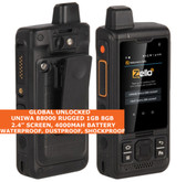 "uniwa b8000 rugged 8gb waterproof mtk6739 quad core 2.4"" android 8.0 lte black"