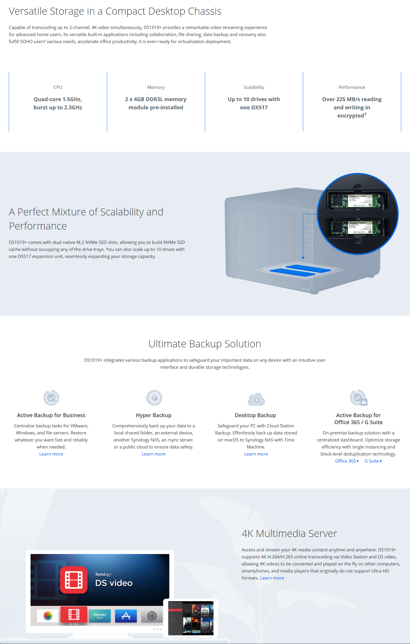 Synology DS1019+ 5-BAY DiskStation Fully Assembled and Tested