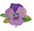 Pansy  Flower Embroidered Iron On Patch