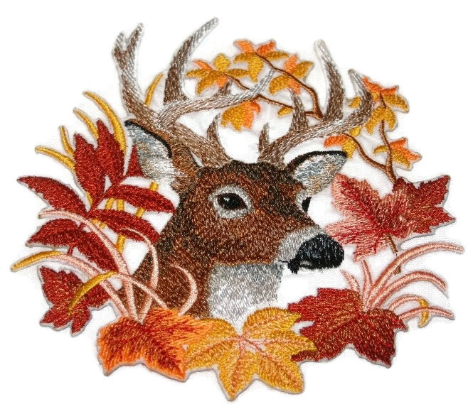 Nature Weaved In Threads Amazing Animal Kingdom Deer In Autumn Leaves Custom And Unique Embroidered Iron On Sew Patch Beyond Vision Mall