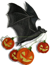 Flying Bat with Jack-o-Lanterns