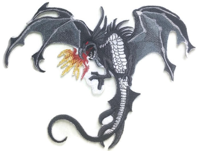 Fire Breathing Flying Red Dragon Iron Sew on Embroidered Patch #1541