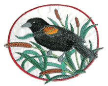 Red-winged Blackbird and Cattail Circle