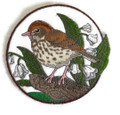 Wood Thrush And Lily Of The Valley Circle