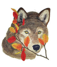 Wolf in Autumn Leaves