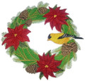 Goldfinch And Poinsettia Wreath