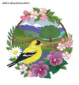 Goldfinch - Spring Meadow with Tree