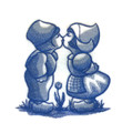 Delft Blue Kissing Kids
