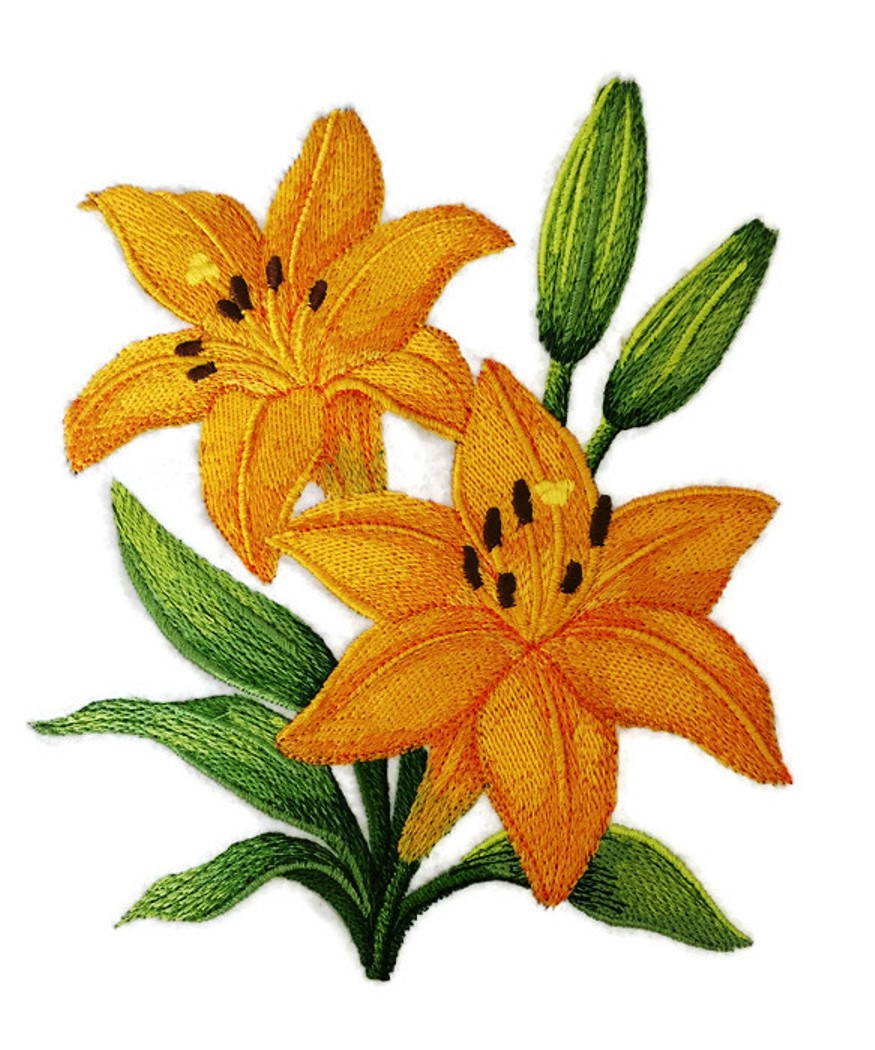 Custom and Unique Garden's Best Delight Flower [ Yellow Lily Blooms ]  Embroidered Iron on/Sew Patch [ 5 87