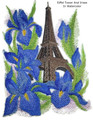 Eiffel Tower And Irises