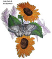 Apollo Butterfly And Sunflowers
