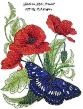 Southern White Admiral butterfly And Poppies